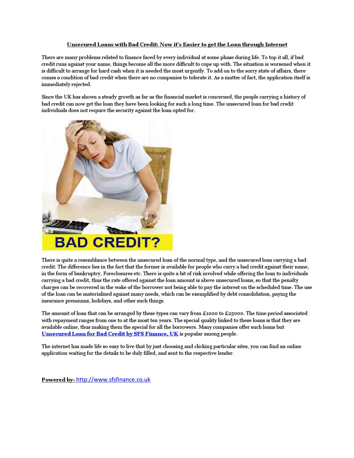 apply for a unsecured loan with bad credit