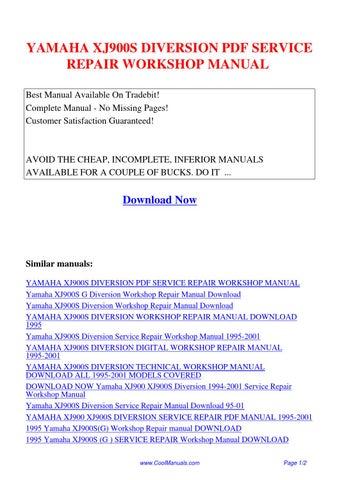 Yamaha Xj900s Diversion Service Repair Workshop Manual Pdf By Guang Hui Issuu