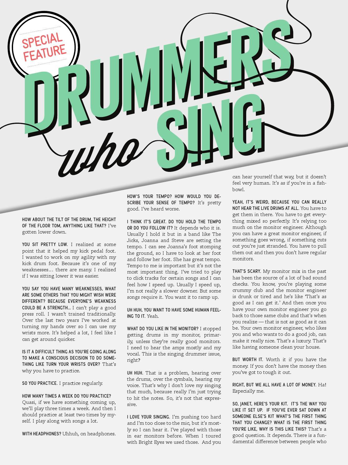 Tom Tom Magazine Issue 15: Drummers Who Sing by Tom Tom