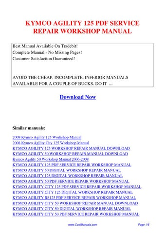 Kymco agility 125 scooter service repair manual download manuals.