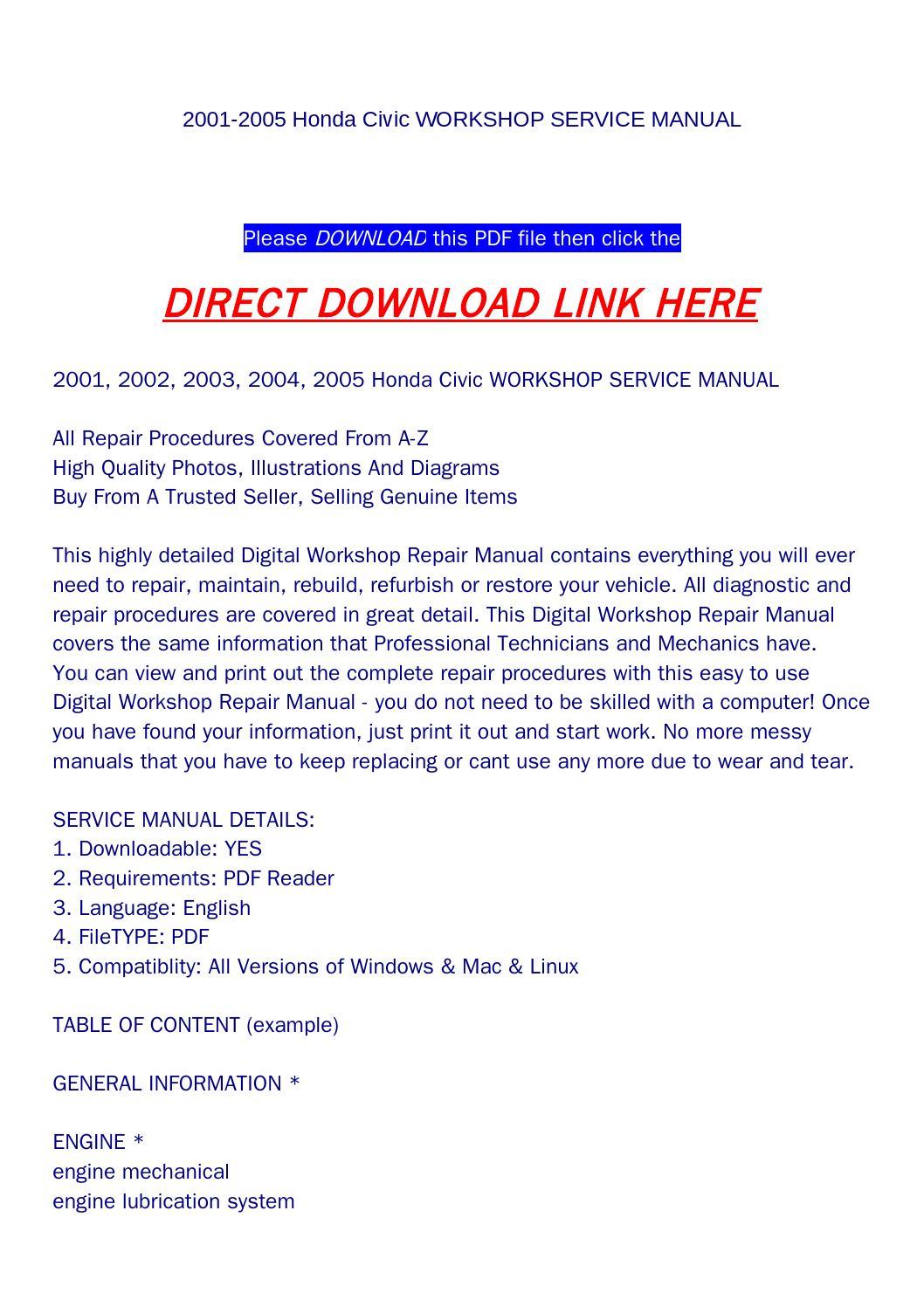 2005 honda civic service manual