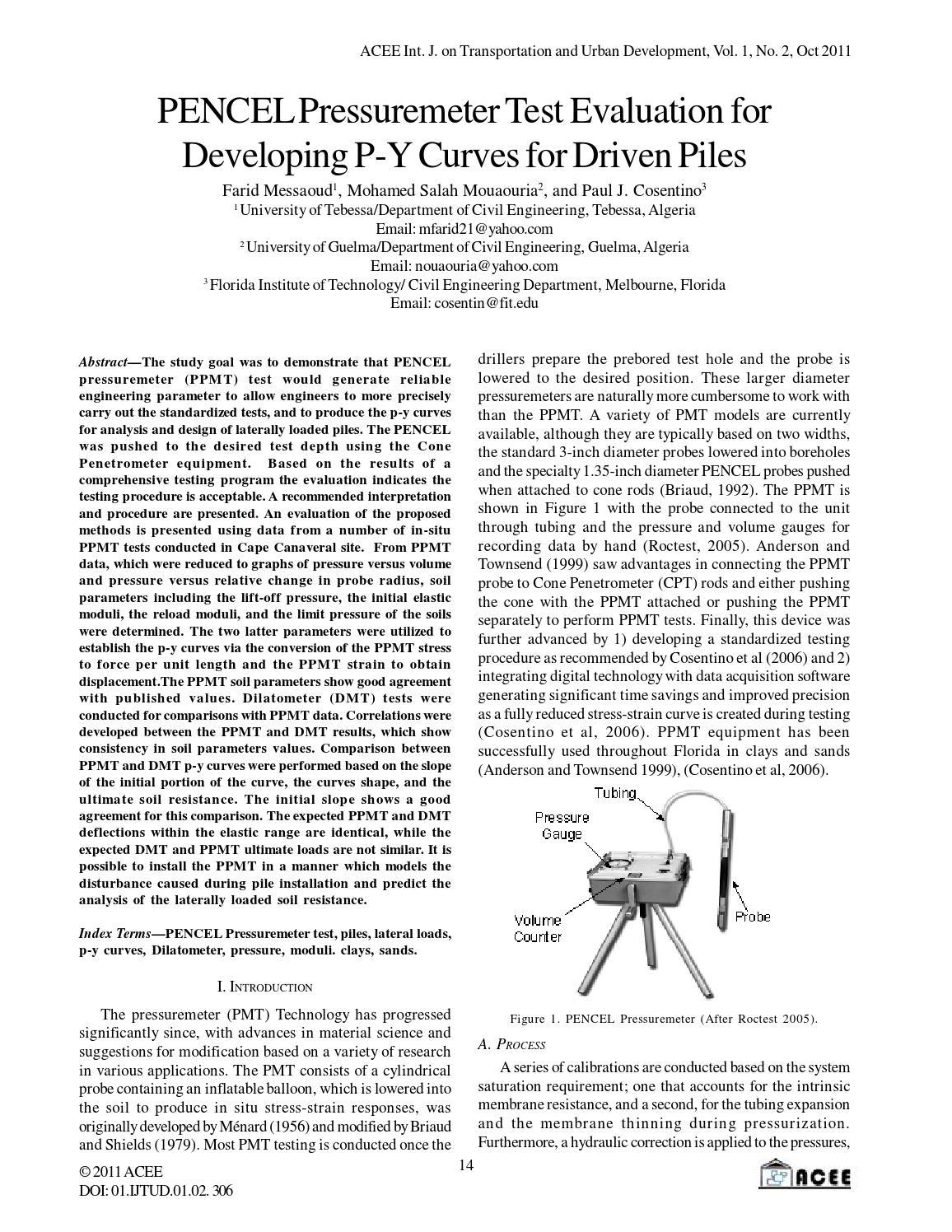 PENCEL Pressuremeter Test Evaluation for Developing P-Y