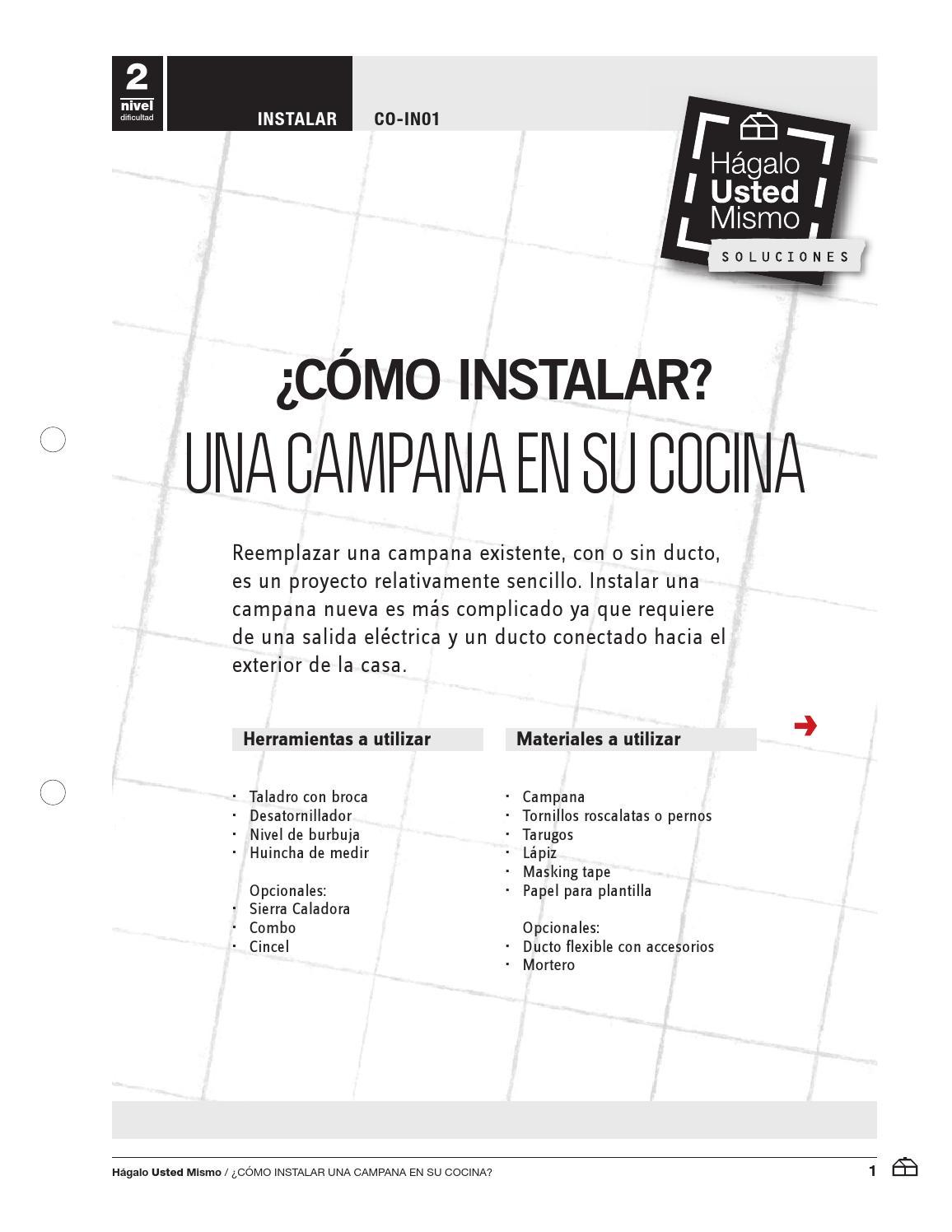 Co in01 instalar una campana en su cocina by uneteamy issuu - Como instalar una campana extractora ...