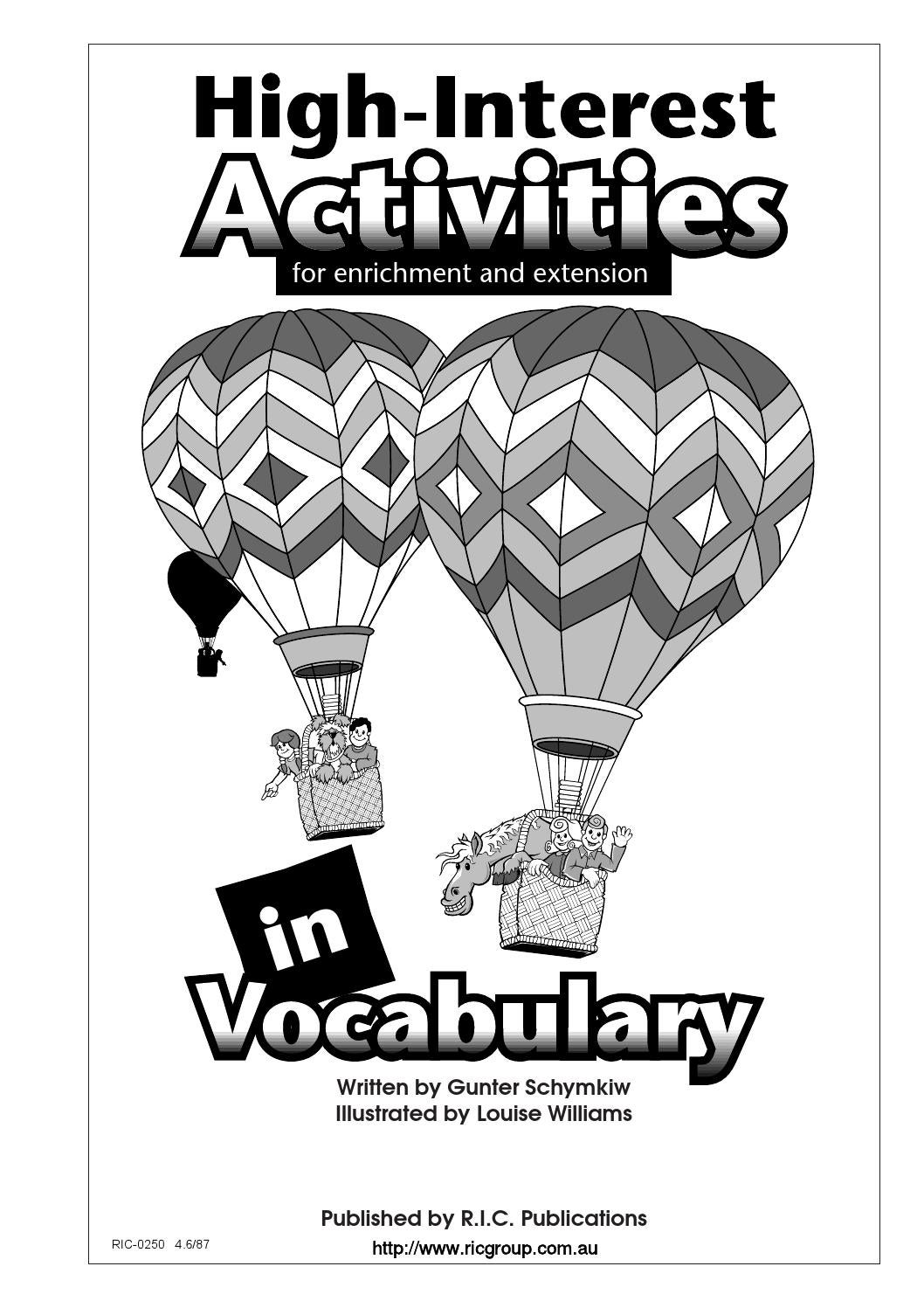 High Interest Activities In Language And Vocabulary Vocabulary By