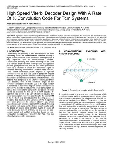 convolution codes and viterbi algorithm Of decoding algorithms are the viterbi algorithm, which provides maximum   code both convolutional and tcm codes and provide two or three.