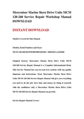 mercruiser marine stern drive units mcm 120 260 service repair rh issuu com Mercruiser Service Manual PDF Mercruiser Starter