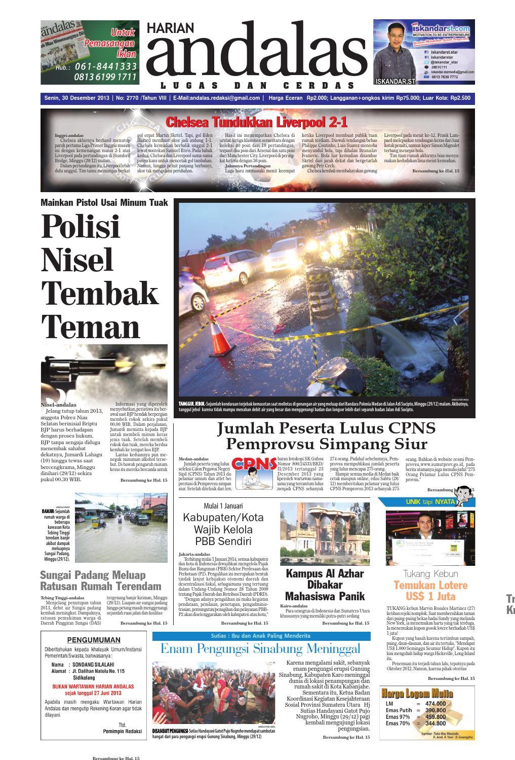 Epaper Andalas Edisi Senin 30 Desember 2013 By Media Andalas