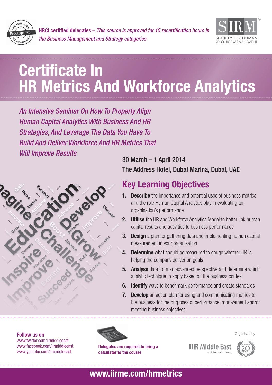 Certificate In Hr Metrics And Workforce Analytics By Informa Middle