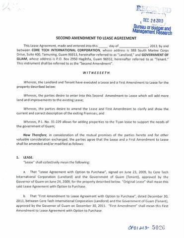 Second Amendment To Lease Agreement Core Tech International Corp By