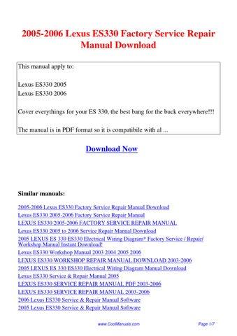 2005 2006 lexus es330 factory service repair manual pdf by guang hui rh issuu com 2005 lexus es 330 owners manual online 2005 lexus es 330 owners manual