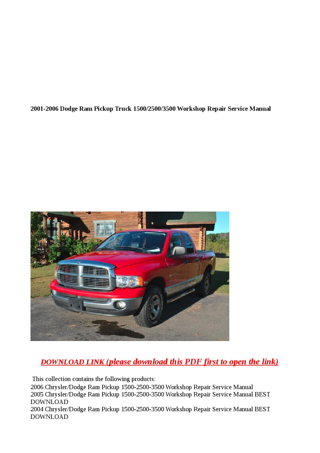 2001 2006 Dodge Ram Pickup Truck 1500 2500 3500 Workshop