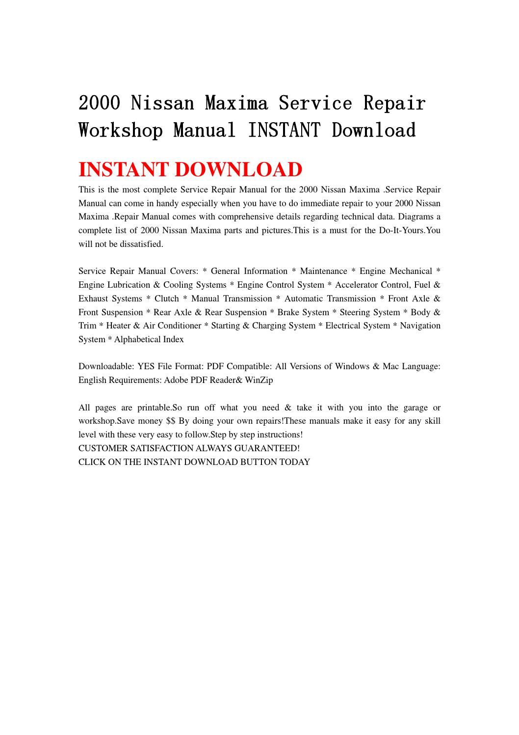 2000 nissan maxima service repair workshop manual instant download by  fjhsegfnnse - issuu