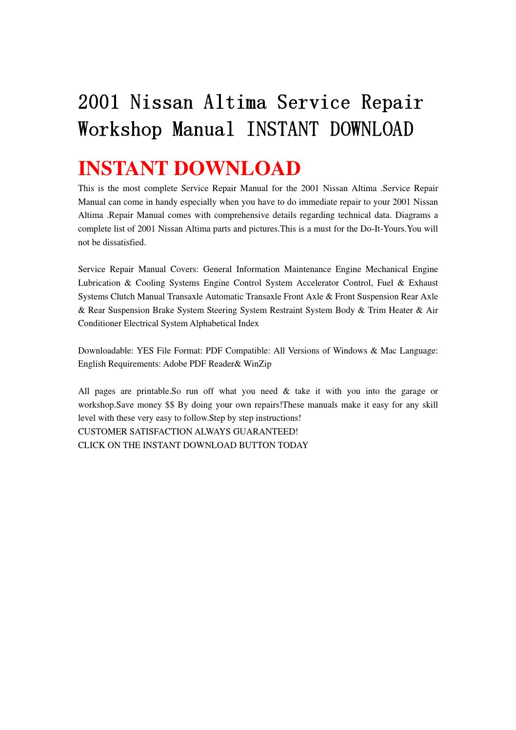 2001 nissan altima service repair workshop manual instant download by  fjhsegfnnse - issuu