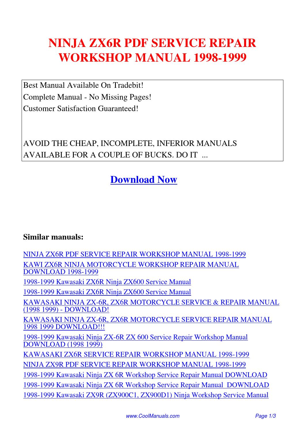 NINJA ZX6R SERVICE REPAIR WORKSHOP MANUAL 1998-1999.pdf by Guang Hui - issuu