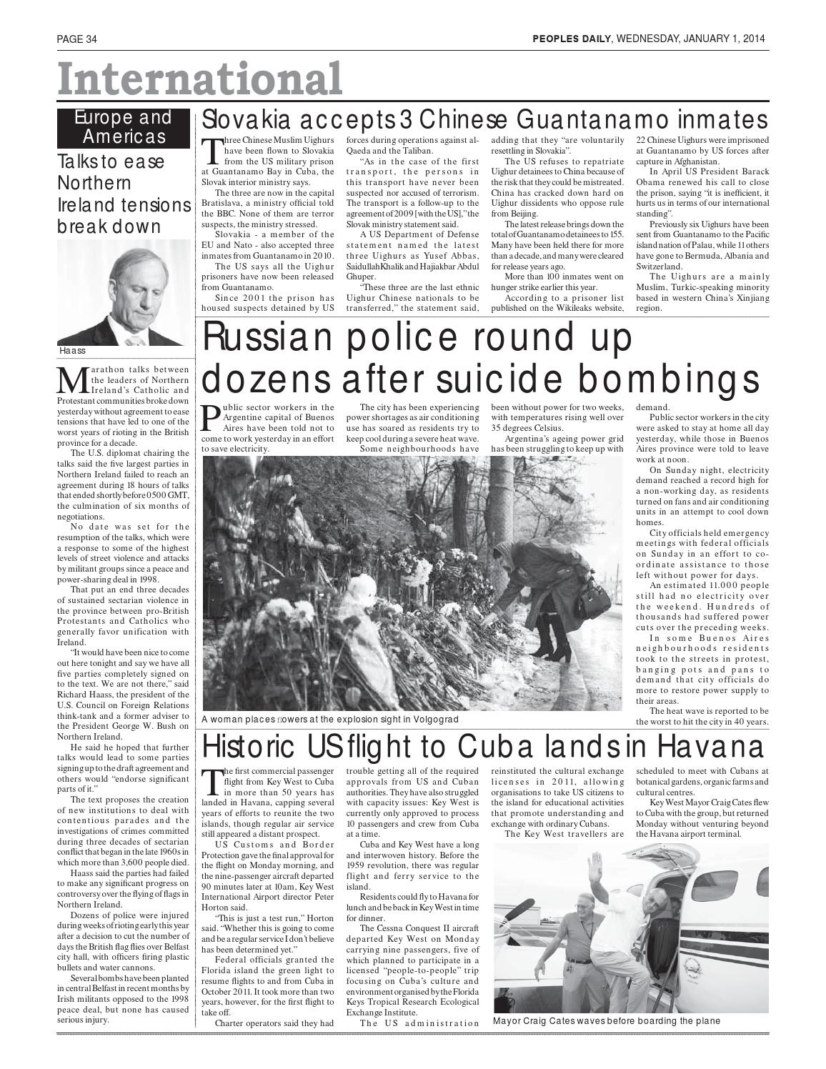 Peoples Daily Newspaper, Wednesday 01, January, 2014 by