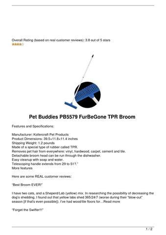 Review Pet Buddies Pb5579 Furbegone Tpr Broom By Lyle