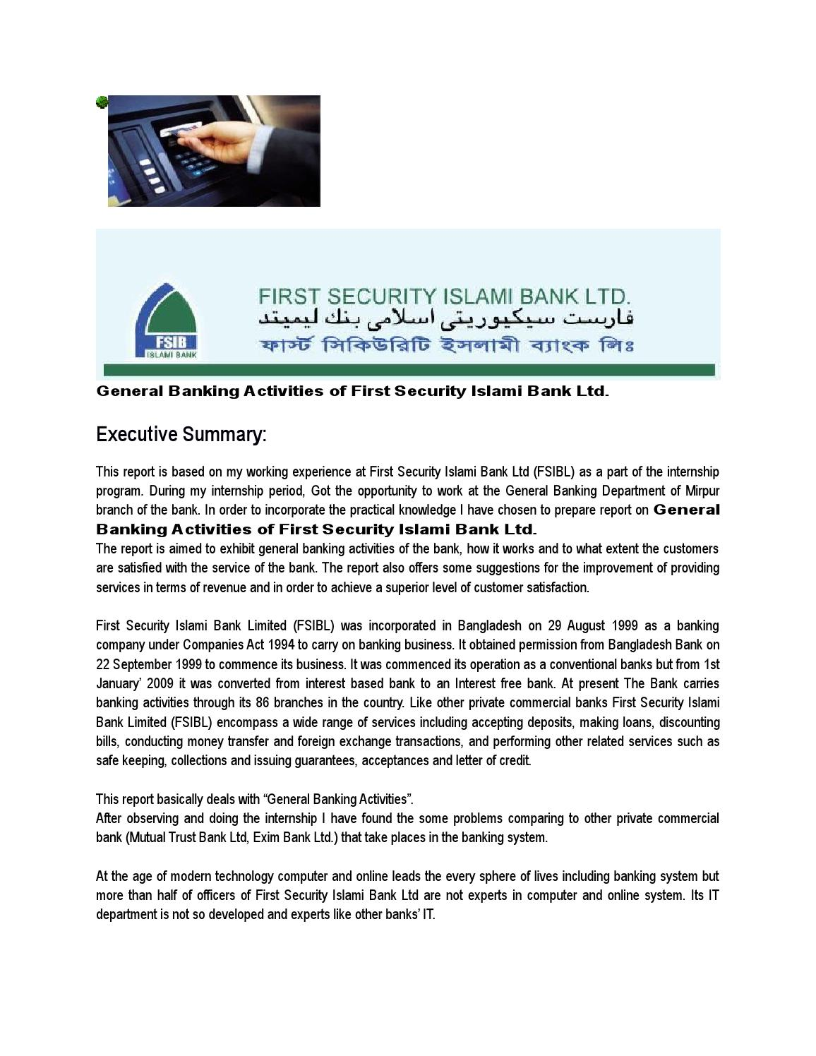 Internship report of first security islami bank
