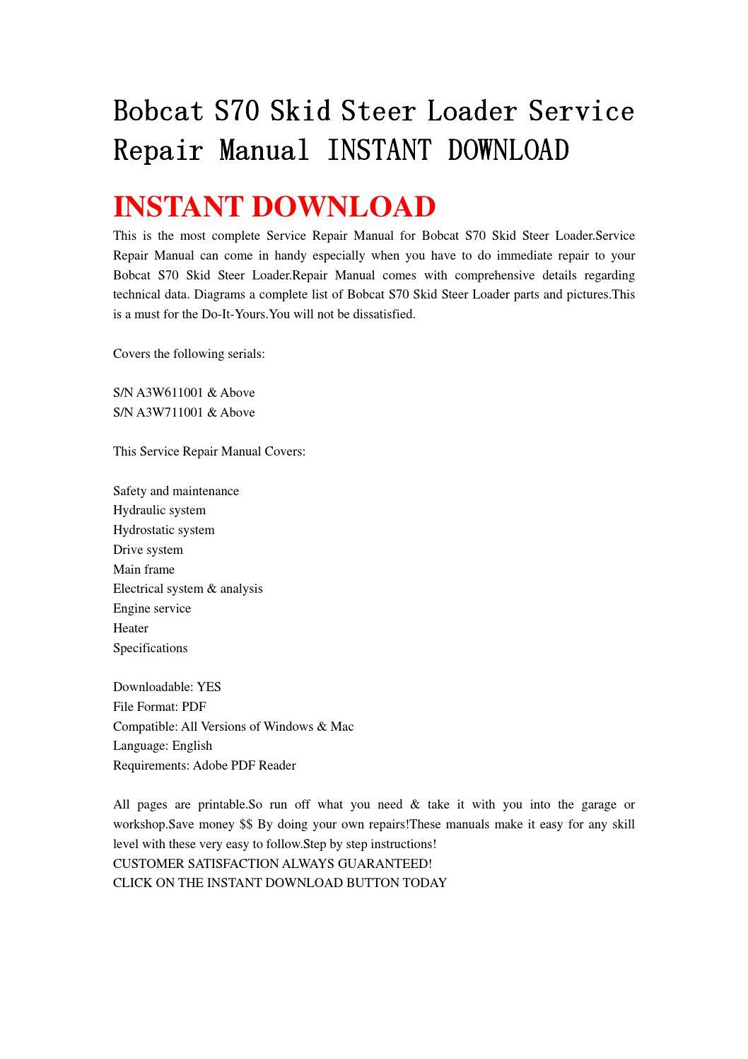 Bobcat s70 skid steer loader service repair manual instant download by  fjhsegfnnse - issuu