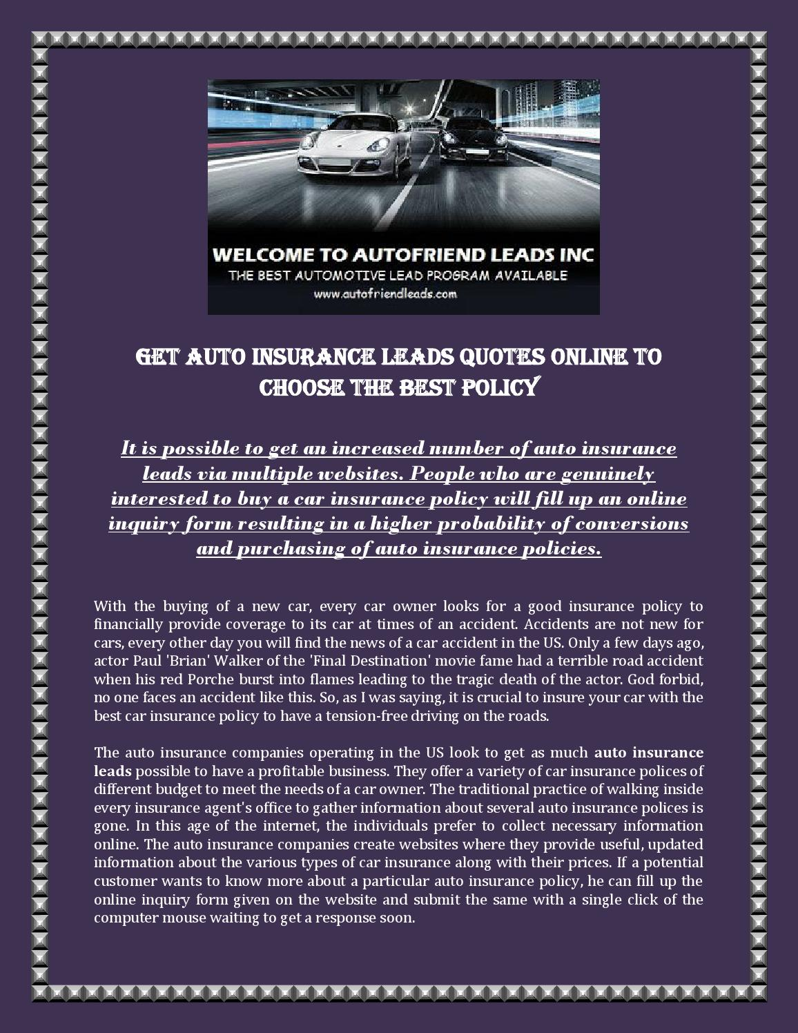 Get Auto Insurance Leads Quotes Online to Choose the Best ...