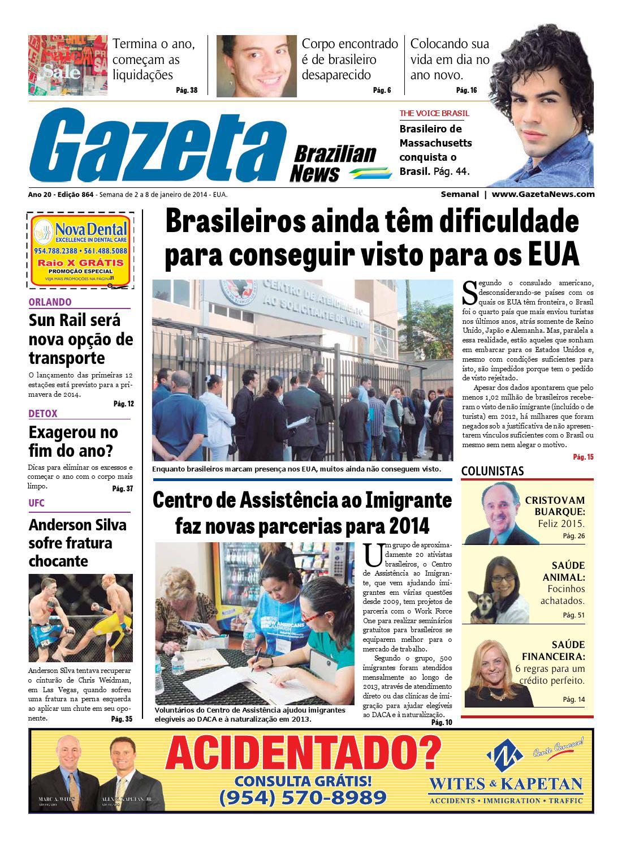 Edição 864 - De 2 a 8 de janeiro de 2014. by Gazeta Brazilian News - issuu 68a5918b4f