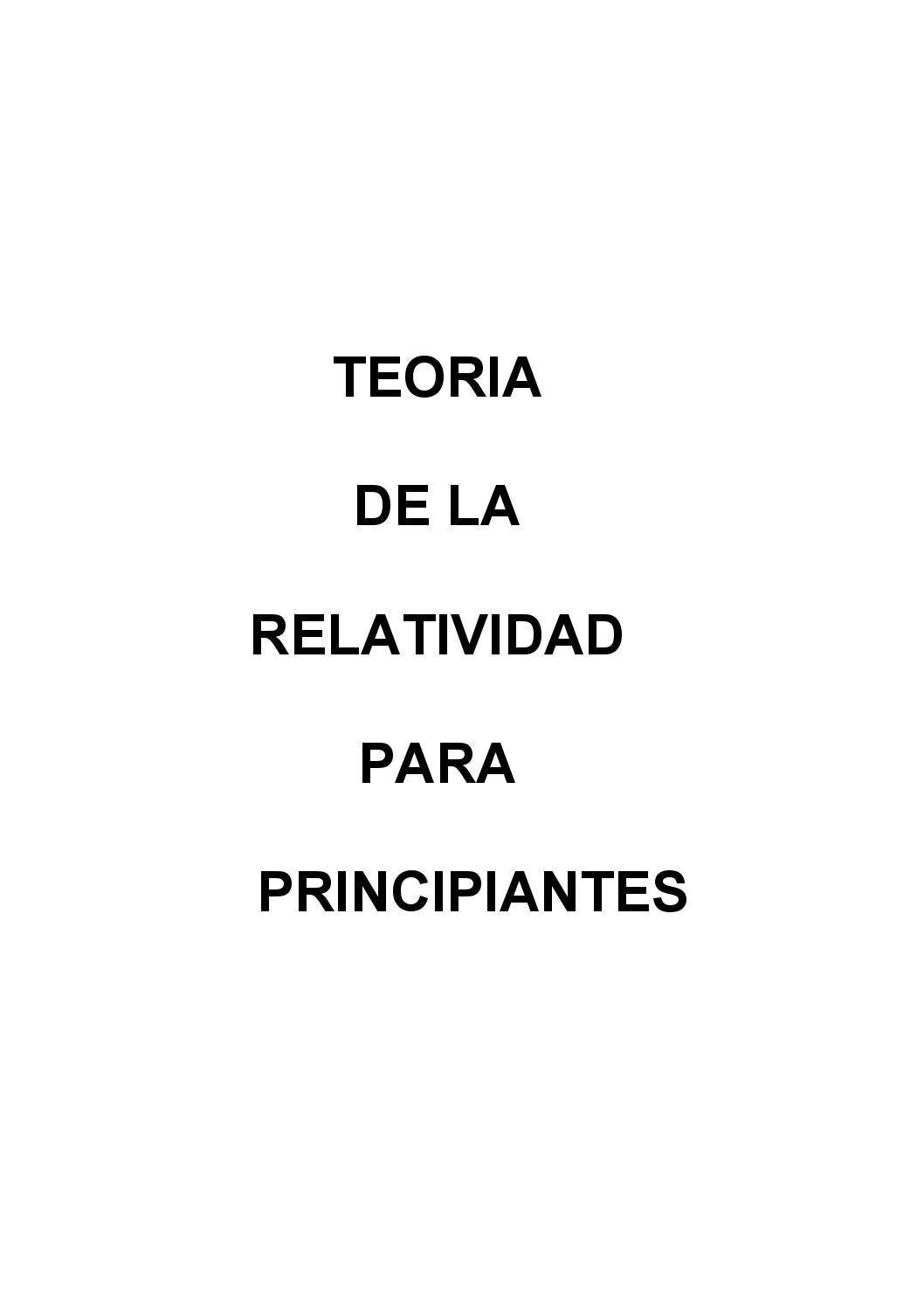 Teoria de la relatividad para principiante by Ernesto Beccari - issuu