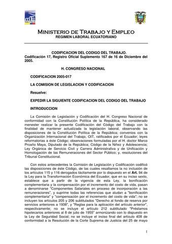 Codificacion del codigo del trabajo by Fundacion Patronato de Quito ...