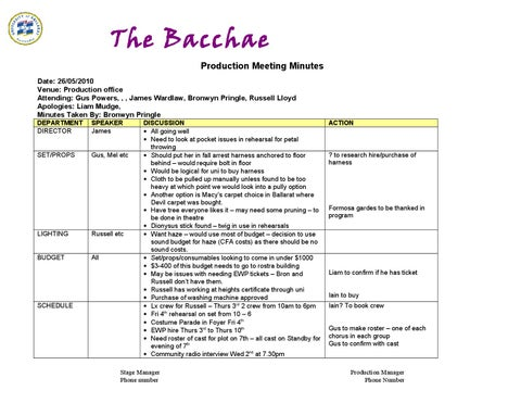prod9 production meeting minutes example the bacchae by outback