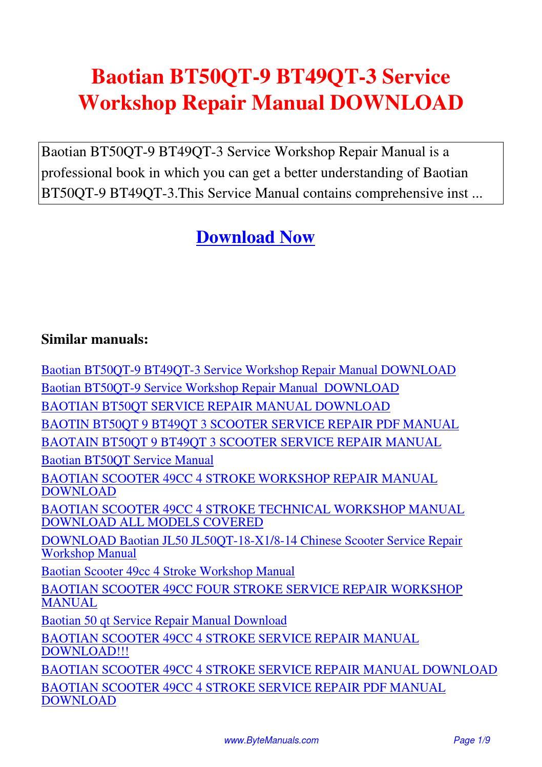 Baotian BT50QT-9 BT49QT-3 Service Workshop Repair Manual.pdf by Kong Hong -  issuu