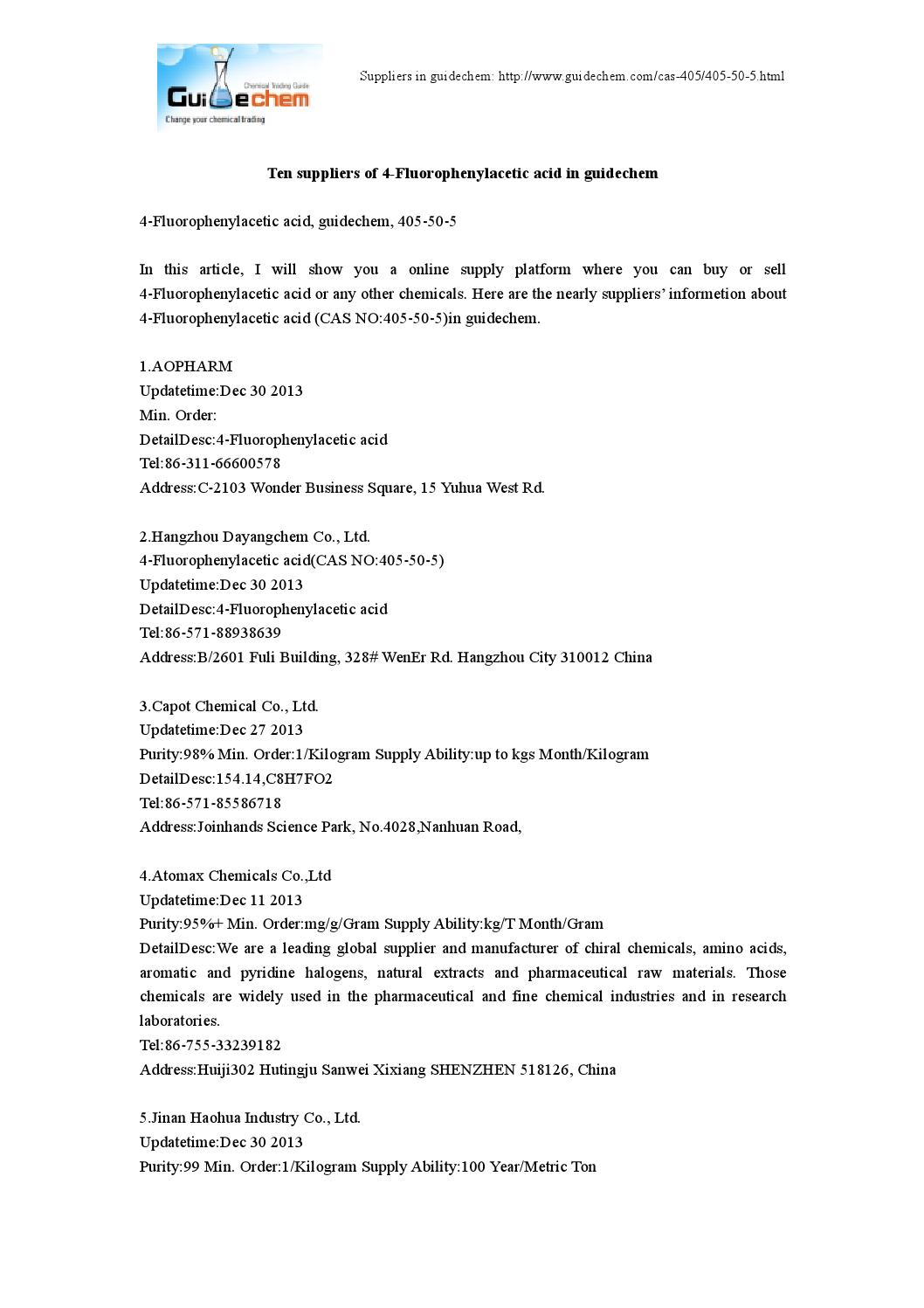 Ten suppliers of 4-Fluorophenylacetic acid in guidechem by