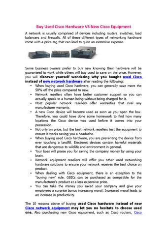 Buy used cisco hardware vs new cisco equipment by Router Switch - issuu