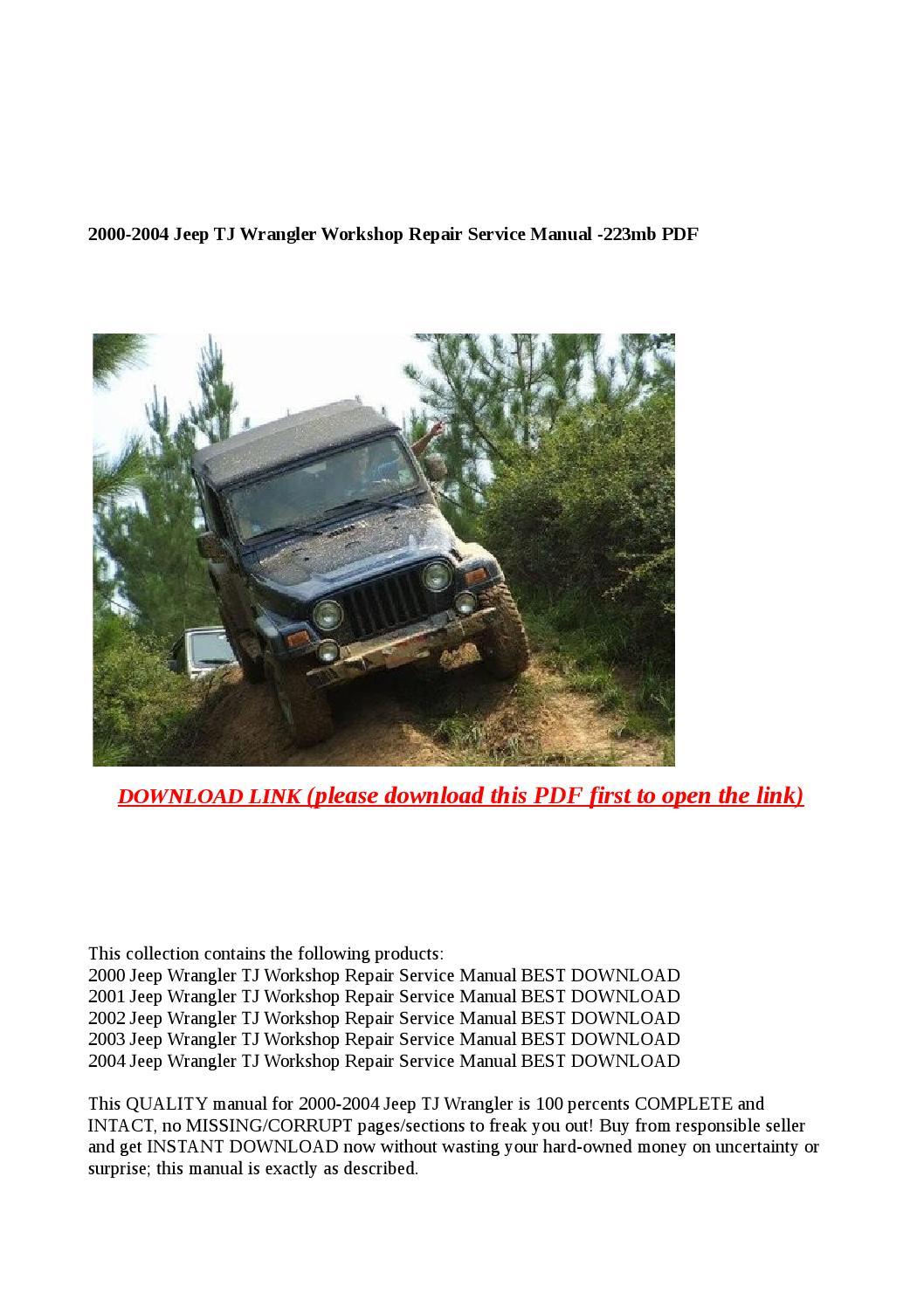 2000 2004 Jeep Tj Wrangler Workshop Repair Service Manual