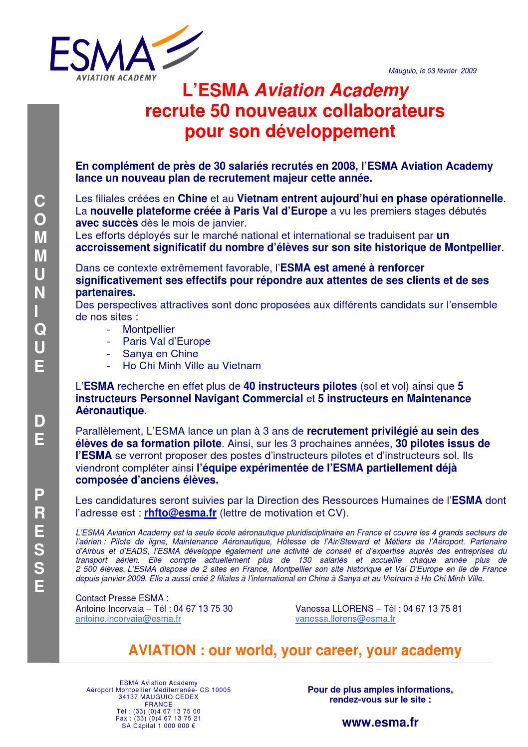 2009 02 03 Cp Esma Plan De Recrutement By Esma Aviation