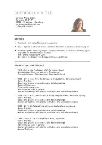 Cv Veronica Orden English By Veronica Orden Issuu