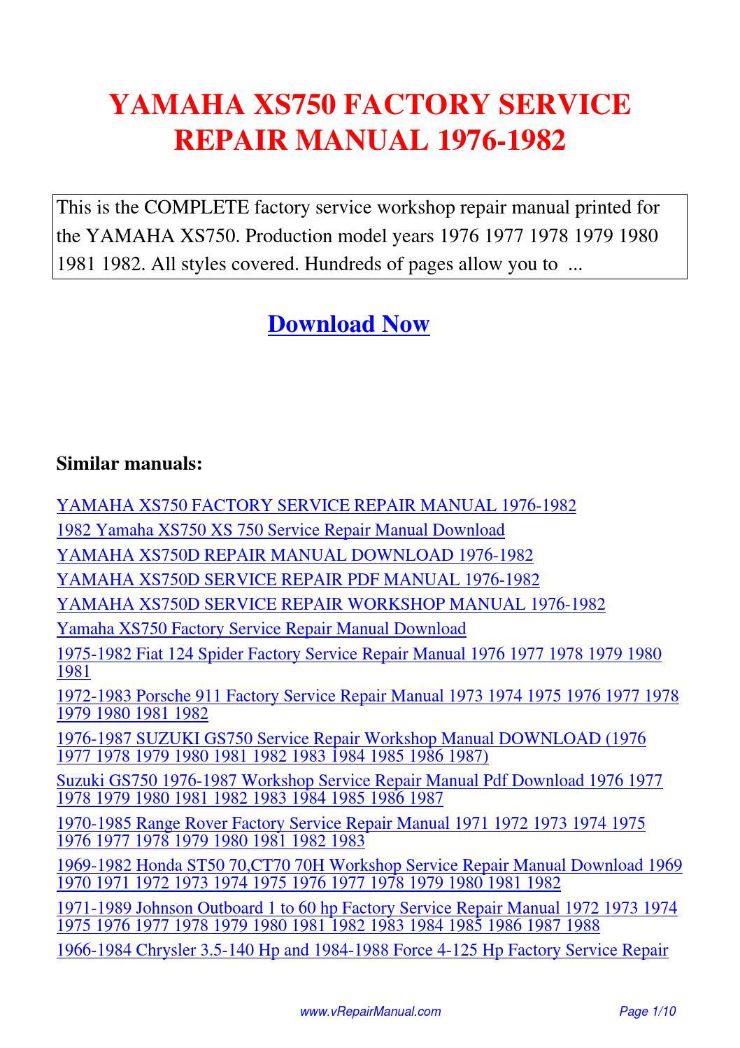 Yamaha Xs750 Factory Service Repair Manual 1976 1982 Pdf By Hong Ting Issuu