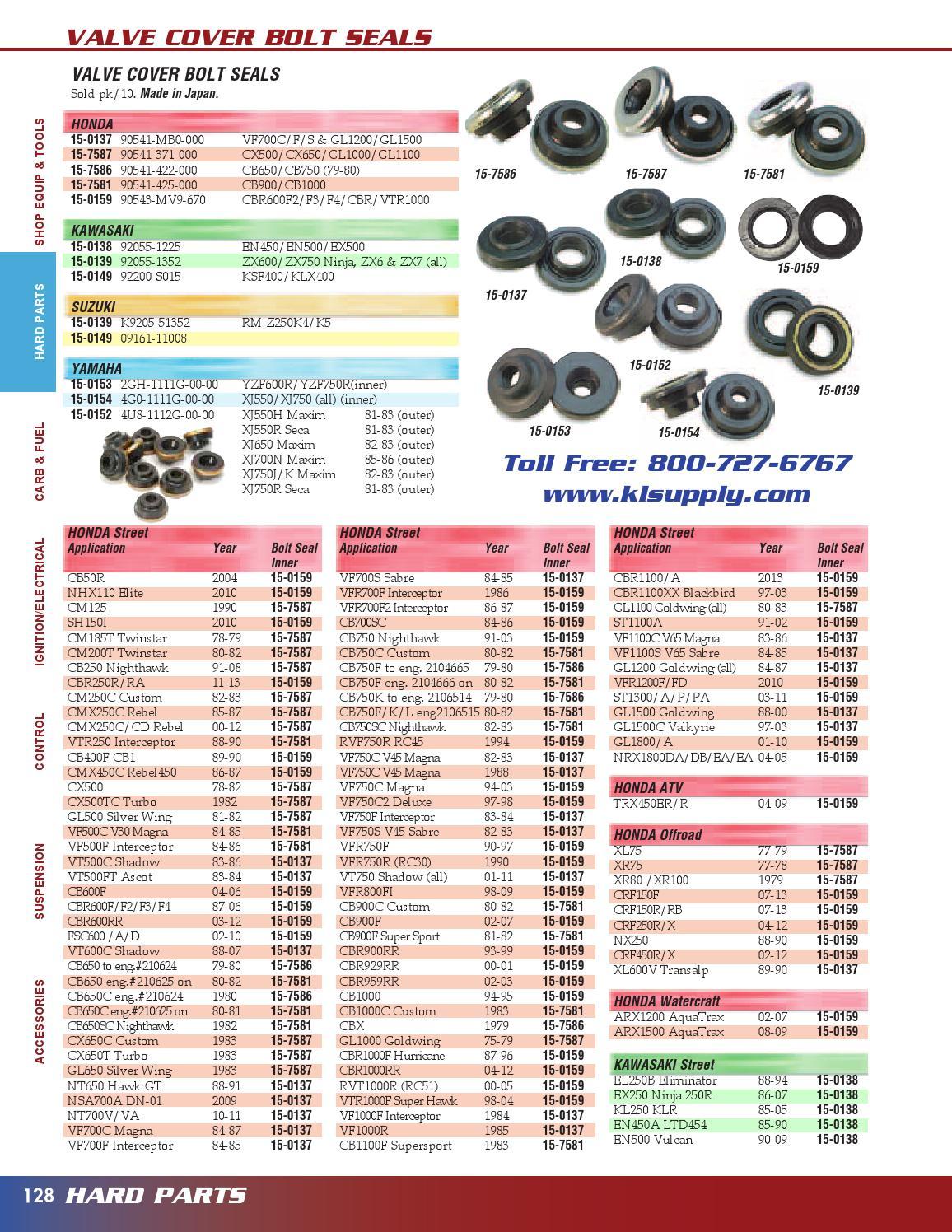 79-80 CB650 CB750F CB750K Valve Cover Bolt Seals 90541-422-000 1979 Honda CBX