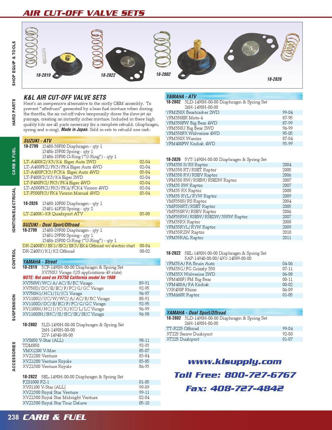 Yamaha Bruin Big Bear Kodiak Raptor K/&L Air Cut Off Valve 18-2822