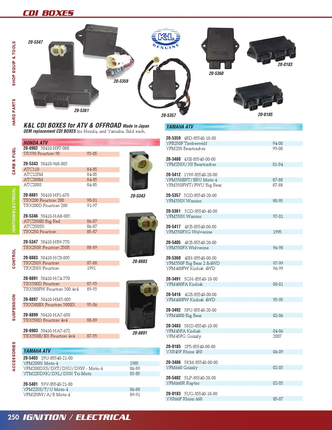 CDI For Yamaha YFM 225 88 YFM 250 Moto 4 89-91 59V-85540-21-00 59Y-85540-21-00 3