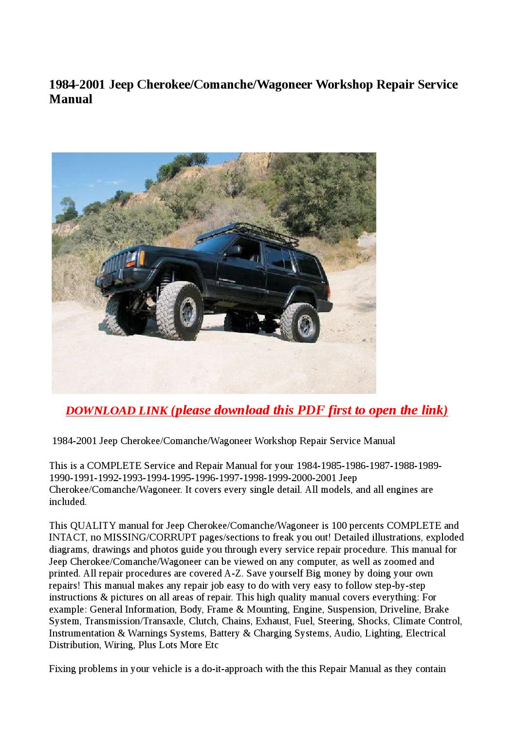 1984 2001 Jeep Cherokee Comanche Wagoneer Workshop Repair Service Manual By Abcdeefr