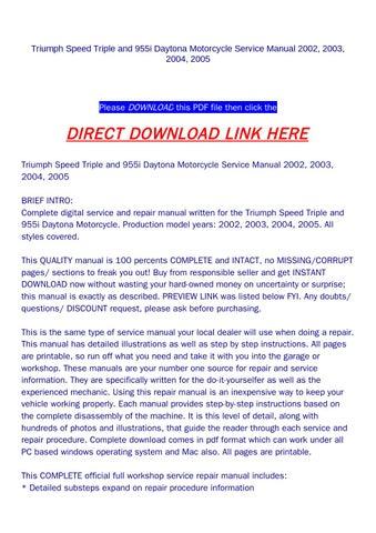 triumph speed triple service manual