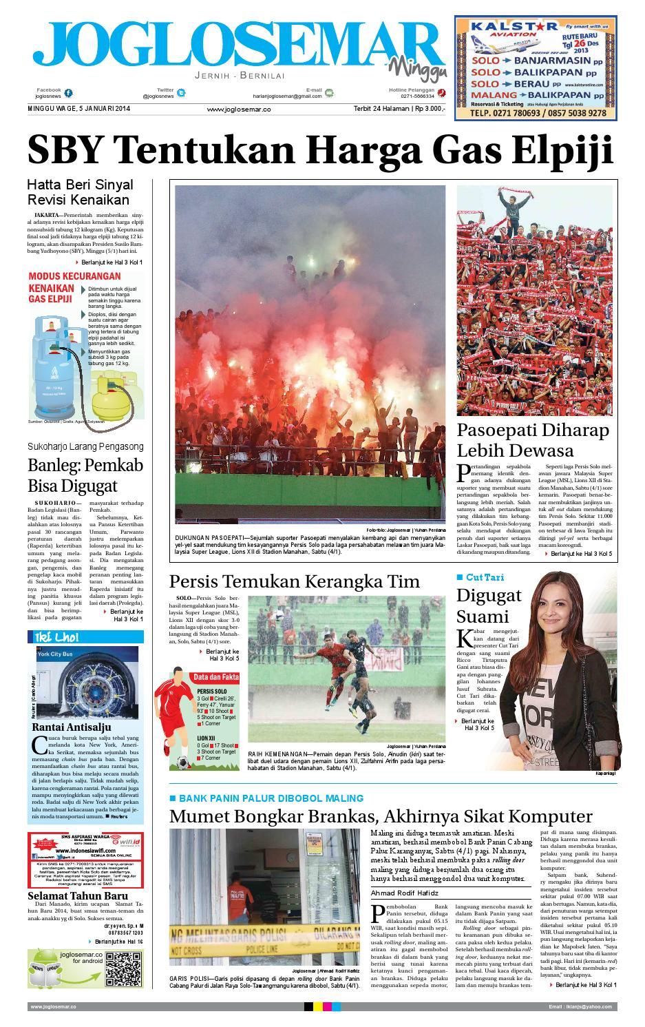 Epaper Edisi 05 Januari 2014 By Pt Joglosemar Prima Media Issuu