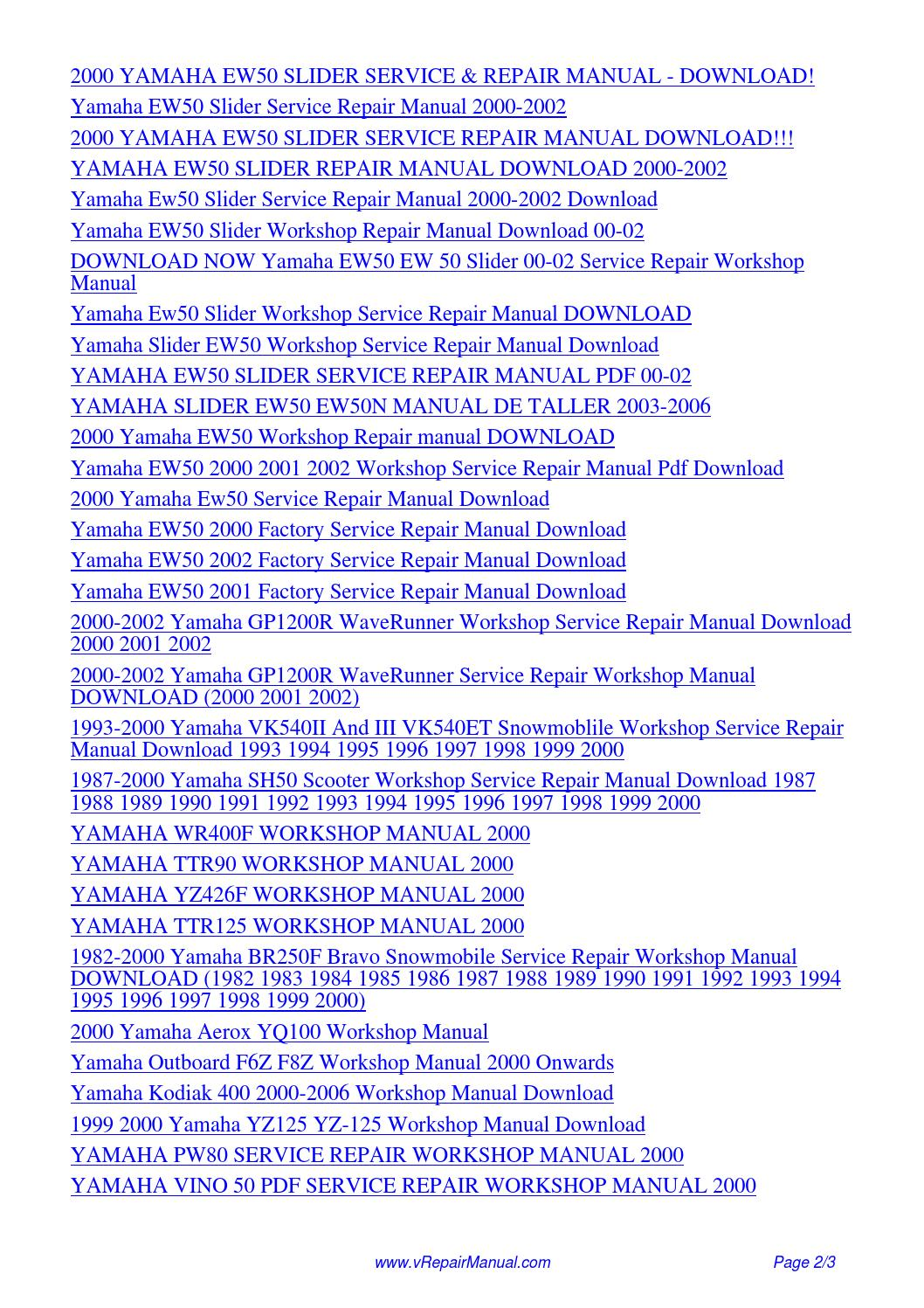 YAMAHA EW50 SLIDER SERVICE REPAIR WORKSHOP MANUAL 2000.pdf by David Zhang -  issuu