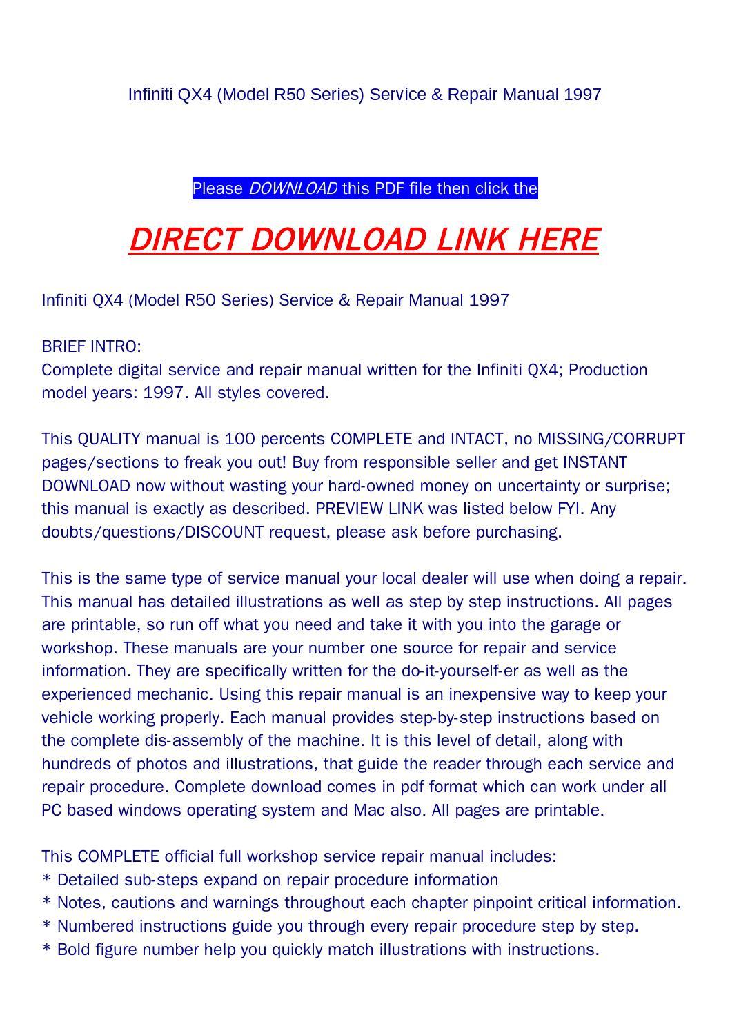 infiniti qx4 model r50 series service repair manual. Black Bedroom Furniture Sets. Home Design Ideas