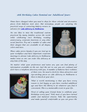 Page 1 18th Birthday Cakes