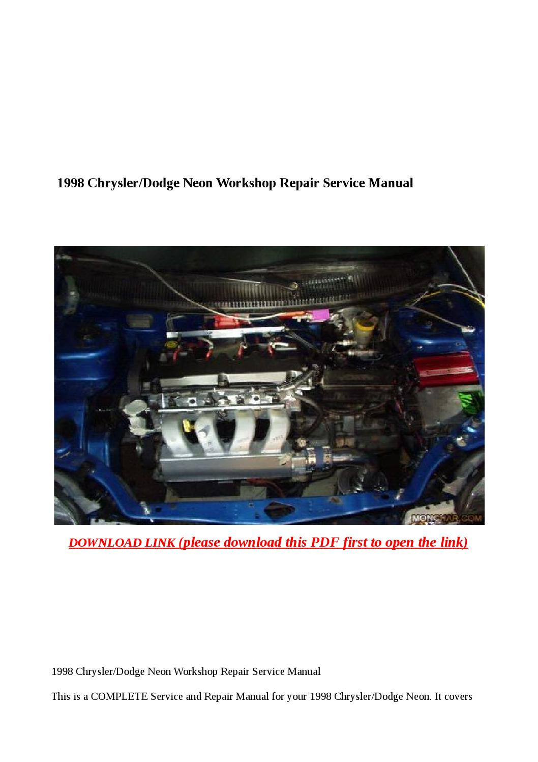 1998 chrysler dodge neon workshop repair service manual by ...