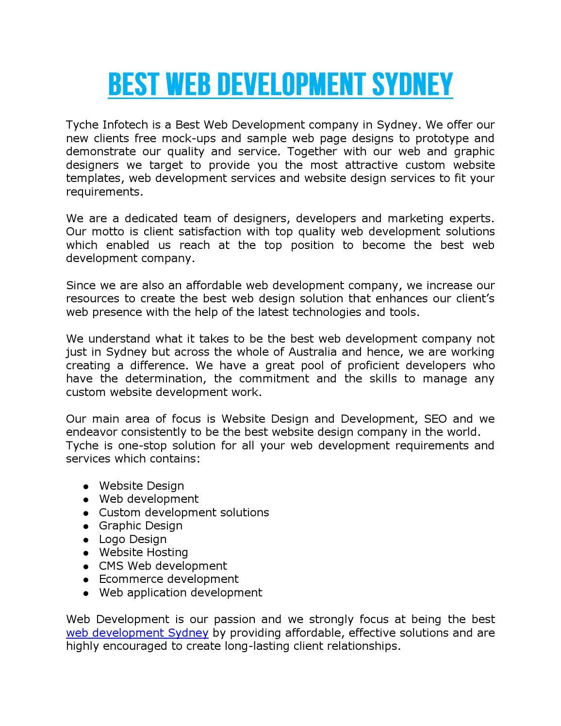 Best Web Development Sydney by Tyche Infotech - issuu