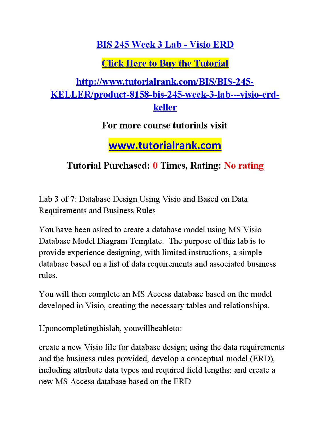 Bis 245 Week 3 Lab Database Design Using By Ash46 Issuu