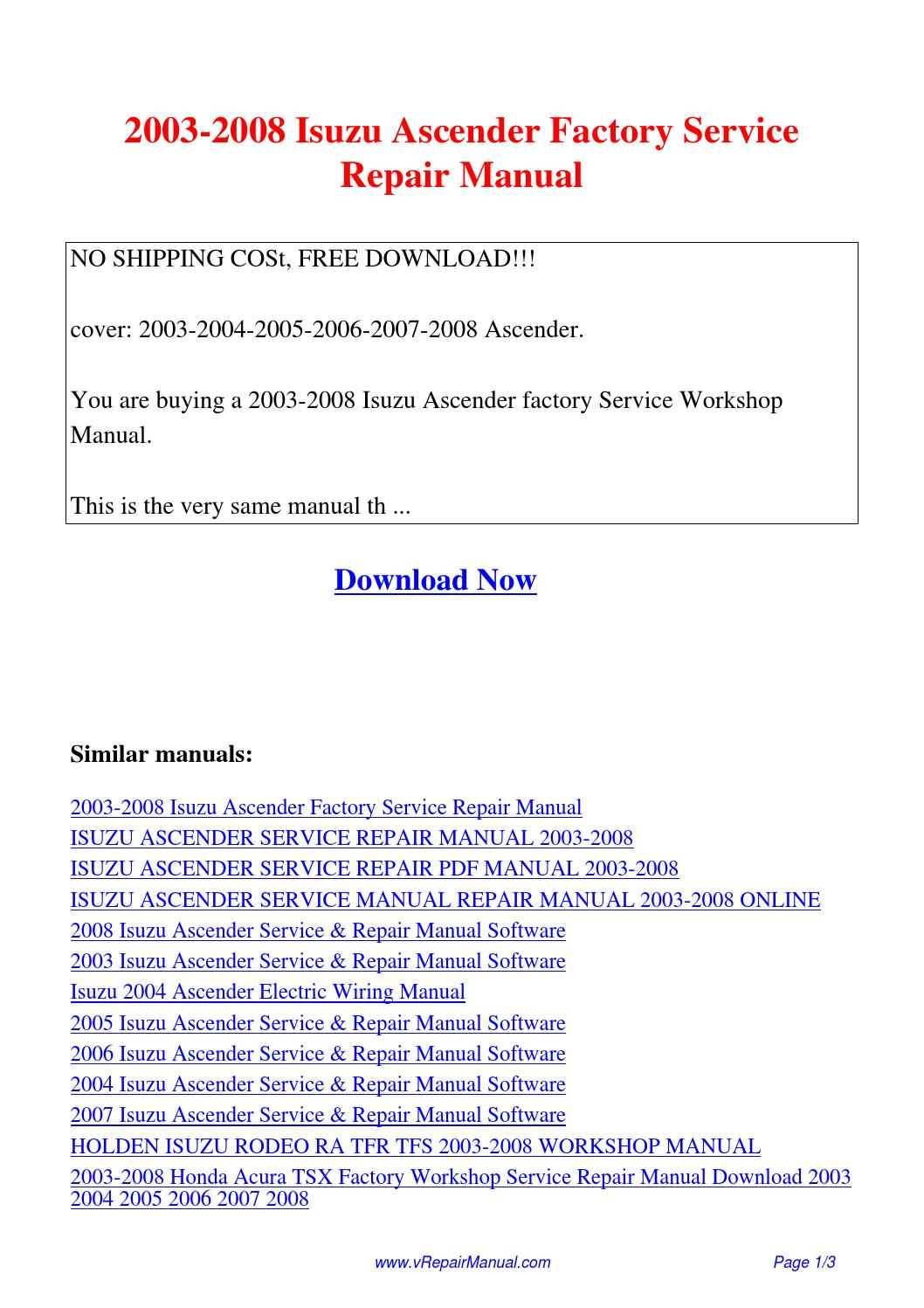2003-2008 Isuzu Ascender Factory Service Repair Manual.pdf by David Zhang -  issuu