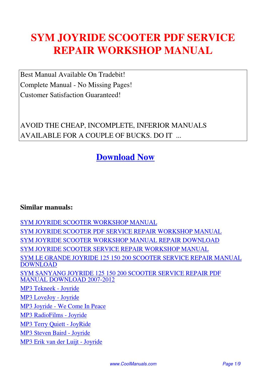 SYM JOYRIDE SCOOTER SERVICE REPAIR WORKSHOP MANUAL.pdf by Guang Hui - issuu