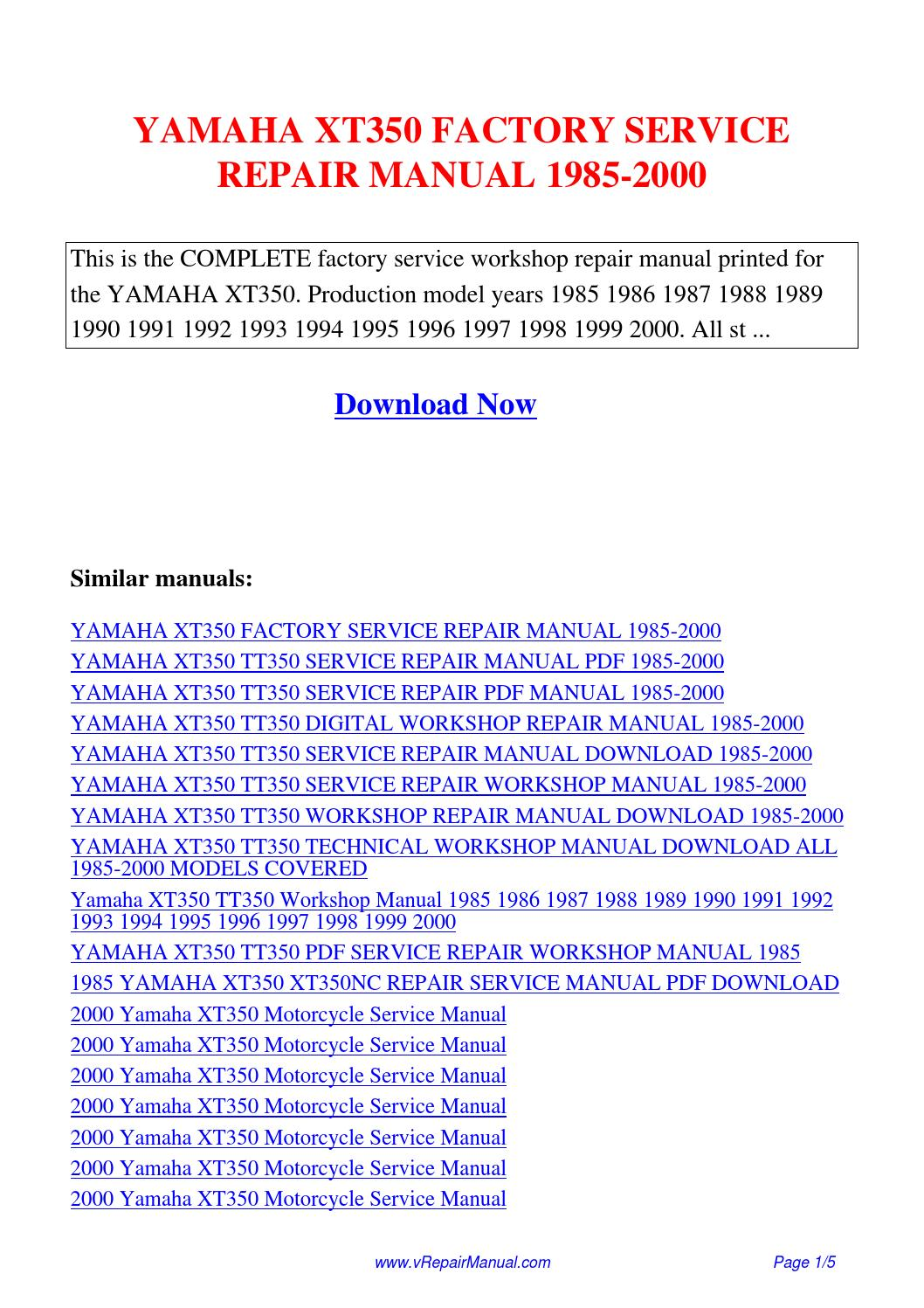 YAMAHA XT350 FACTORY SERVICE REPAIR MANUAL 1985-2000.pdf by David Zhang -  issuu