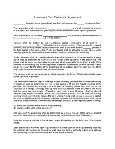 Investment Club Partnership Agreement By Sample Legal Forms  Issuu
